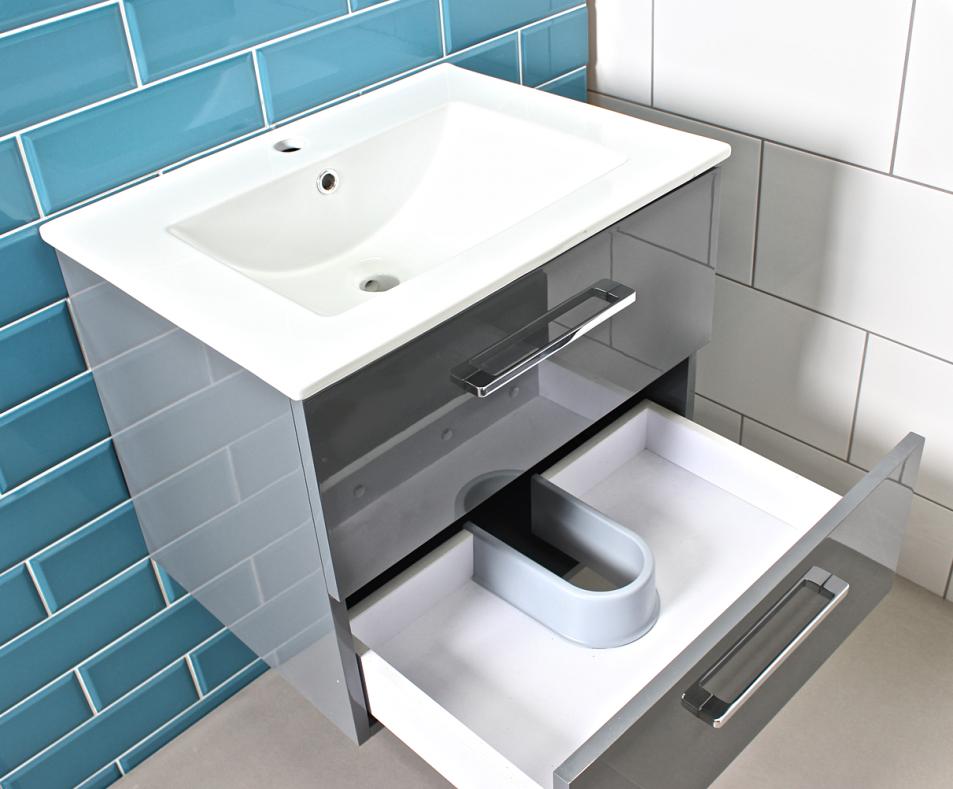 Modern Gloss Grey Bathroom Vanity Unit Amp Countertop Basin