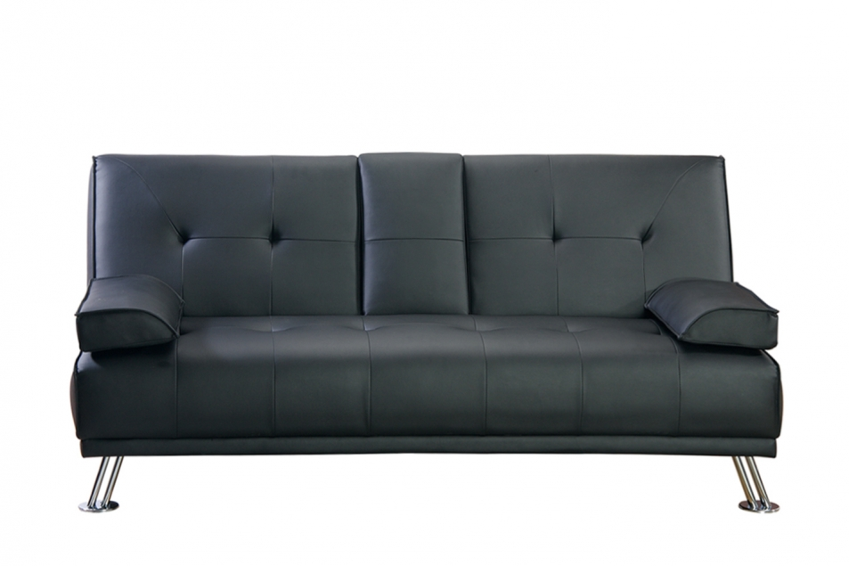 Modern Faux Leather 3 Seater Sofa Bed Fold Down Table Living Room Furniture Ebay
