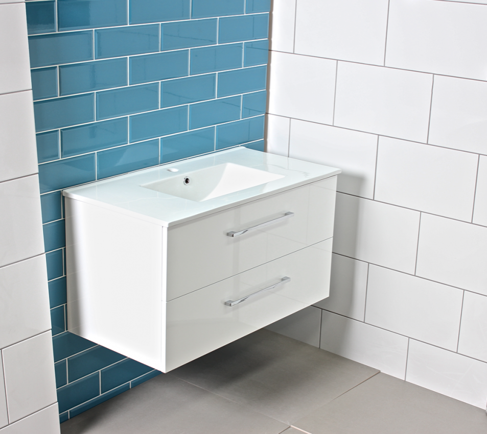 large gloss white bathroom vanity unit countertop basin cabinet